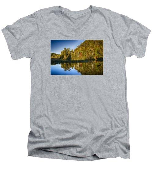 Paint River Men's V-Neck T-Shirt by Dan Hefle