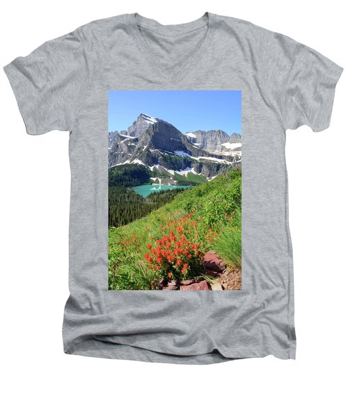 Paintbrush Above Grinnell Lake Men's V-Neck T-Shirt