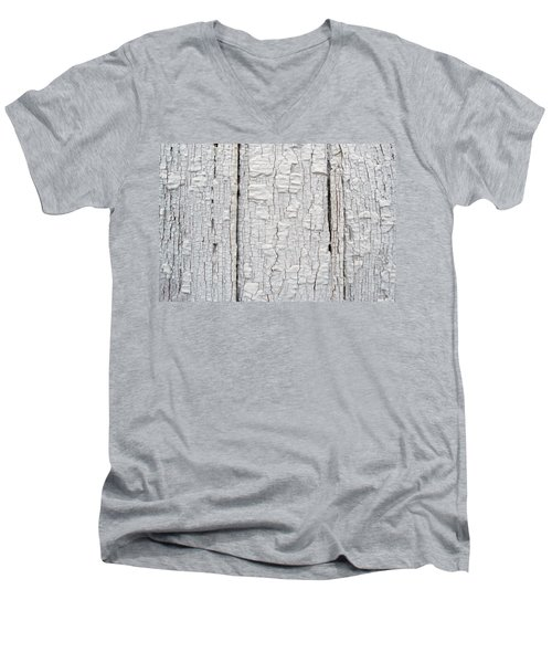 Men's V-Neck T-Shirt featuring the photograph Painted Aged Wood by John Williams