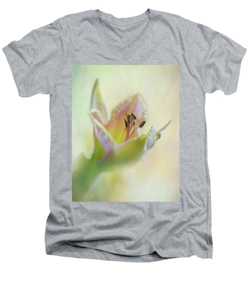 Painted Daylily Men's V-Neck T-Shirt by David and Carol Kelly