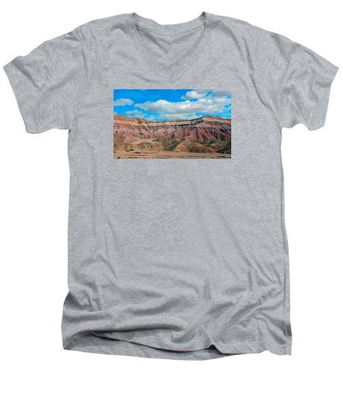 Painted Desert Men's V-Neck T-Shirt by Charlotte Schafer