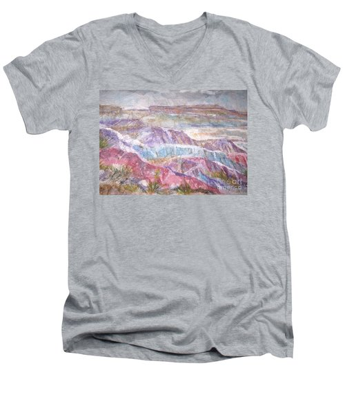 Painted Desert Men's V-Neck T-Shirt by Ellen Levinson