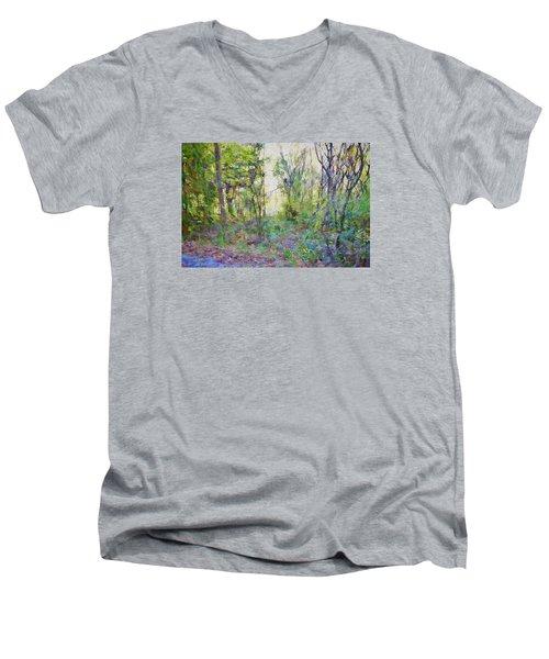 Painted Forrest Men's V-Neck T-Shirt by Rena Trepanier