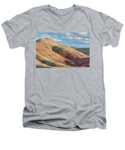 Painted Hill And Clouds Men's V-Neck T-Shirt by Greg Nyquist