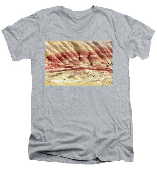Painted Hills Landscape Men's V-Neck T-Shirt by Pierre Leclerc Photography