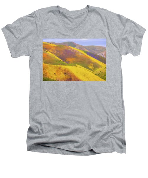 Men's V-Neck T-Shirt featuring the photograph Painted Hills by Marc Crumpler