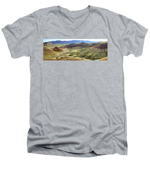 Painted Hills Panorama  Men's V-Neck T-Shirt