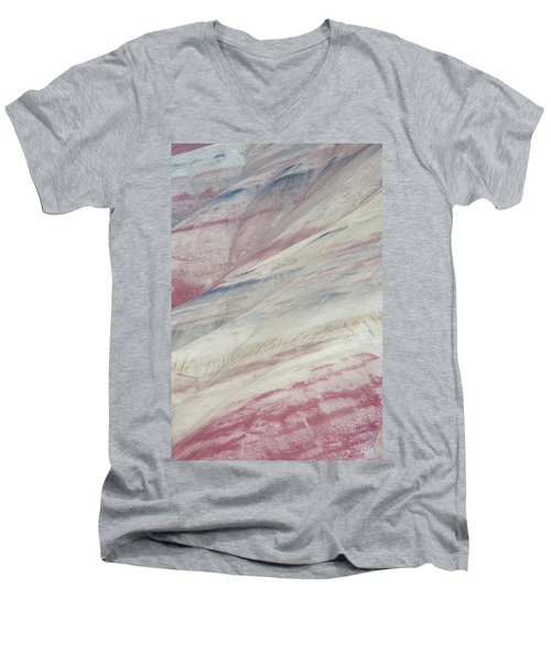 Men's V-Neck T-Shirt featuring the photograph Painted Hills Textures 3 by Leland D Howard