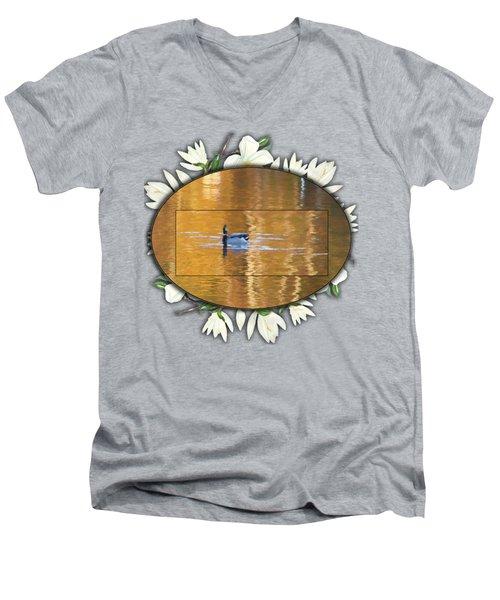 Painted Mallard On Magnolia Pond Men's V-Neck T-Shirt