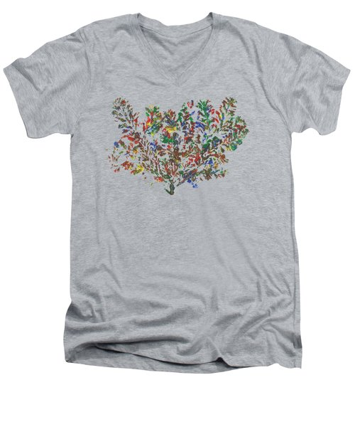 Men's V-Neck T-Shirt featuring the painting Painted Nature 2 by Sami Tiainen