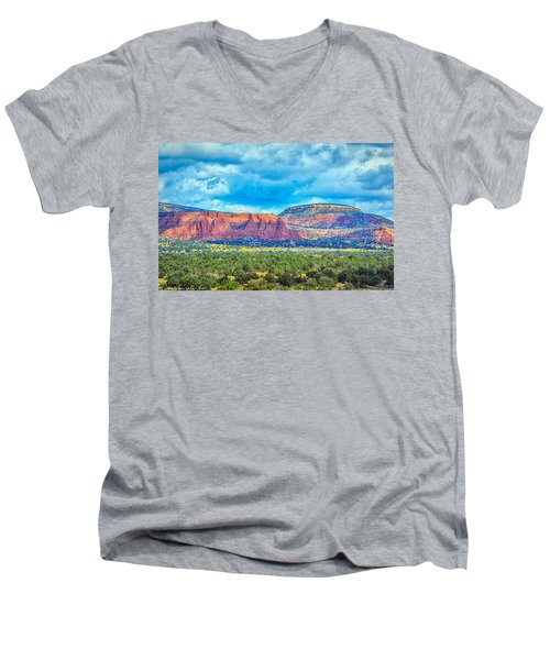 Men's V-Neck T-Shirt featuring the photograph Painted New Mexico by AJ Schibig