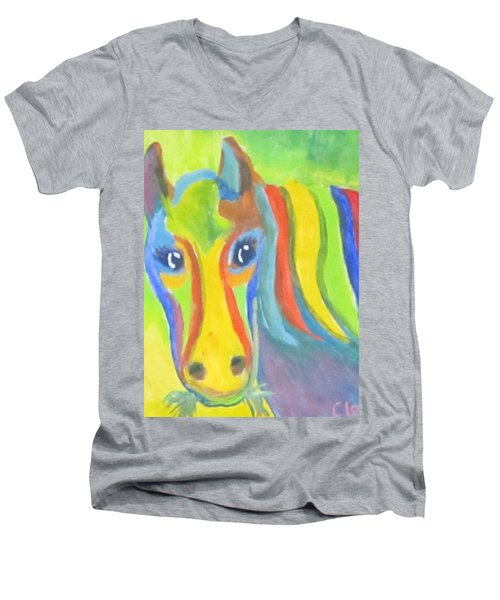 Men's V-Neck T-Shirt featuring the painting Painted Pony by Cathy Long