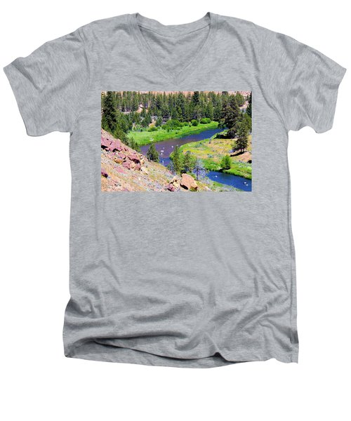 Men's V-Neck T-Shirt featuring the photograph Painted River by Jonny D