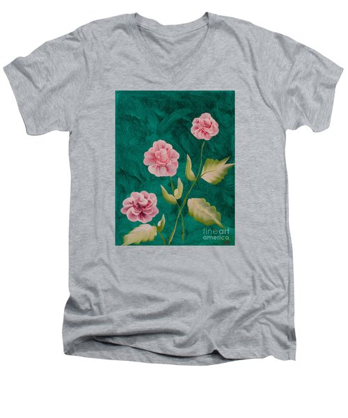 Painted Roses Men's V-Neck T-Shirt by Donna Brown