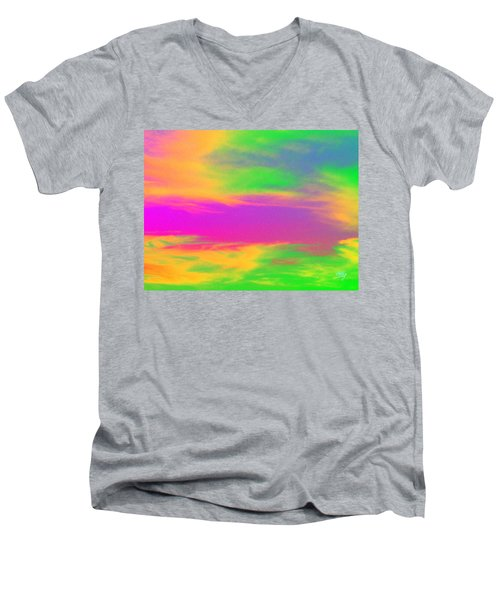 Painted Sky - Abstract Men's V-Neck T-Shirt by Linda Hollis