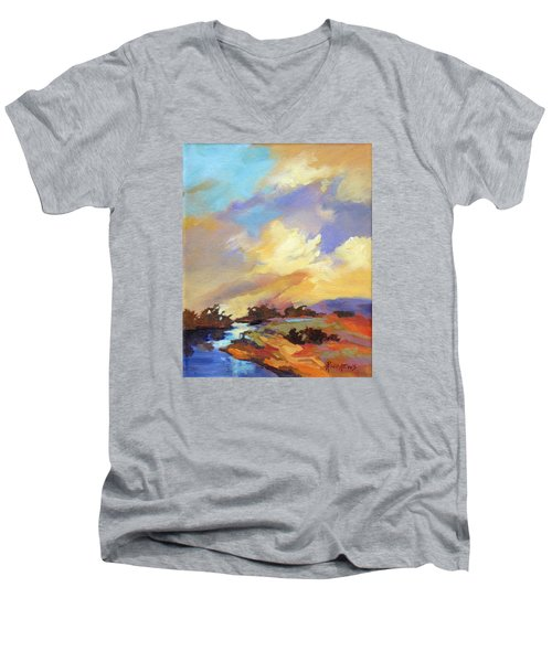 Men's V-Neck T-Shirt featuring the painting Painted Sky by Rae Andrews