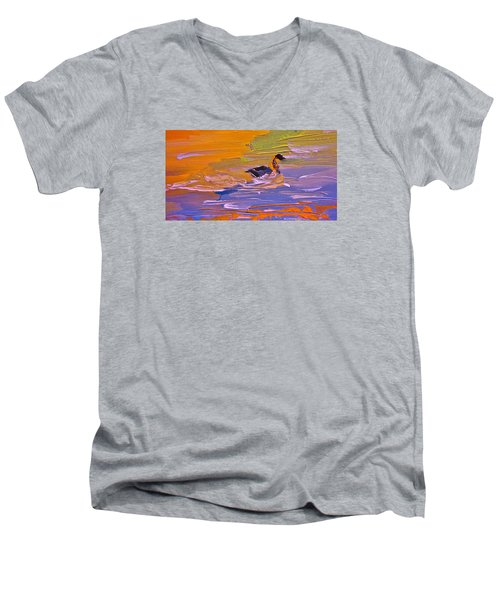 Painterly Escape Men's V-Neck T-Shirt by Lisa Kaiser