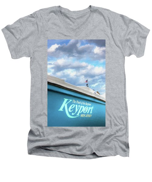 Men's V-Neck T-Shirt featuring the photograph Painterly Keyport Sailboat by Gary Slawsky