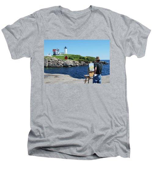 Painting Nubble Lighthouse Men's V-Neck T-Shirt