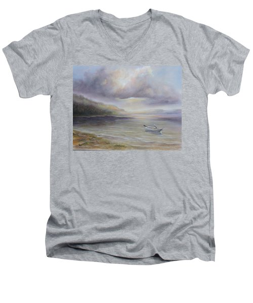 Beach By Sruce Run Lake In New Jersey At Sunrise With A Boat Men's V-Neck T-Shirt