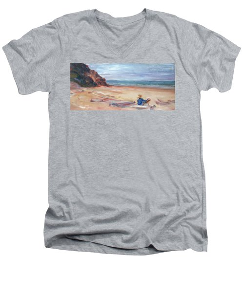 Painting The Coast - Scenic Landscape With Figure Men's V-Neck T-Shirt