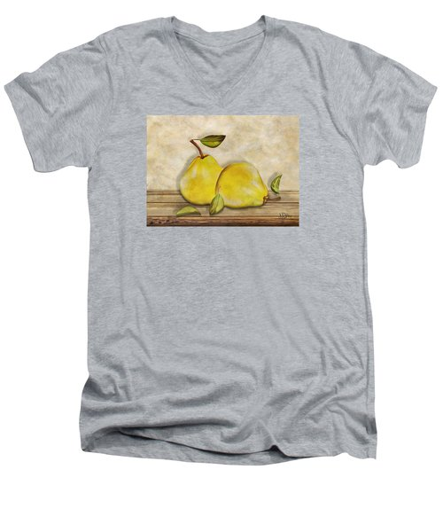 Pair Of Pears Men's V-Neck T-Shirt by Nina Bradica