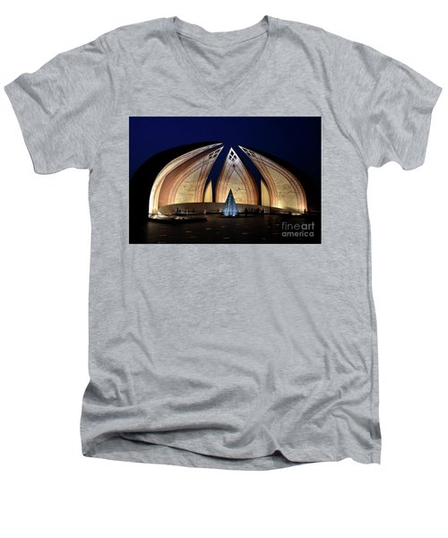 Pakistan Monument Illuminated At Night Islamabad Pakistan Men's V-Neck T-Shirt