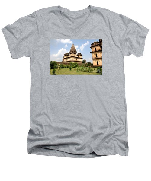 Palaces In Orccha Central India Men's V-Neck T-Shirt