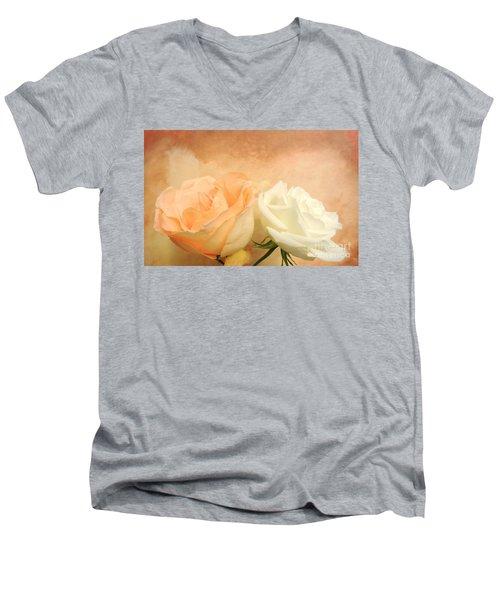 Pale Peach And White Roses Men's V-Neck T-Shirt by Marsha Heiken