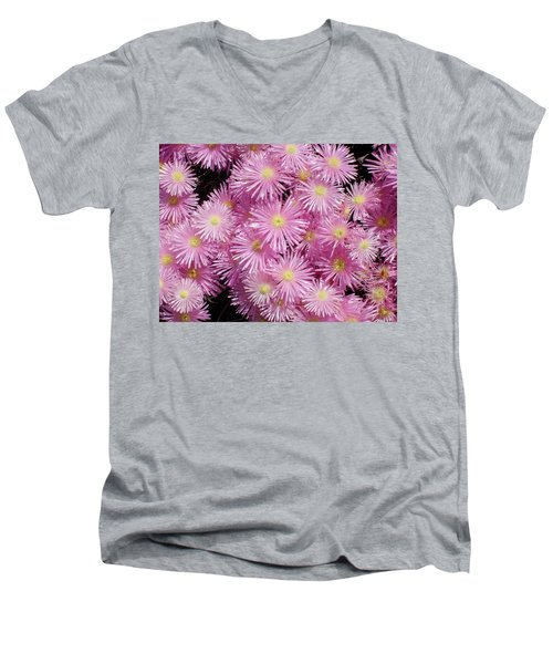 Pale Pink Flowers Men's V-Neck T-Shirt by Mark Barclay