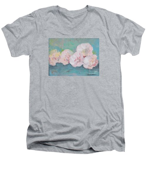 Pale Pink Peonies Men's V-Neck T-Shirt by Robin Maria Pedrero