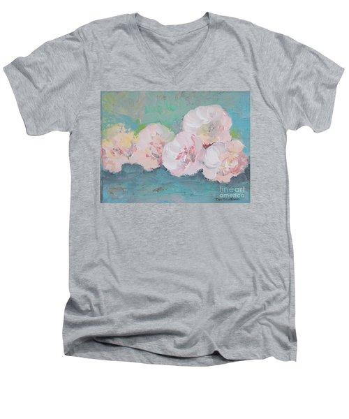 Pale Pink Peonies Men's V-Neck T-Shirt