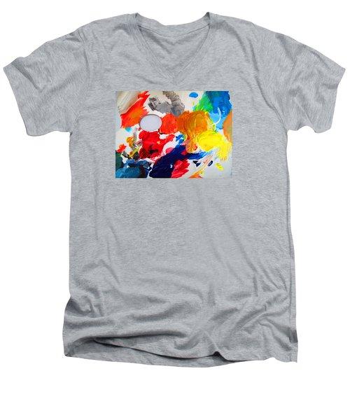 Men's V-Neck T-Shirt featuring the photograph Palette by Barbara McDevitt