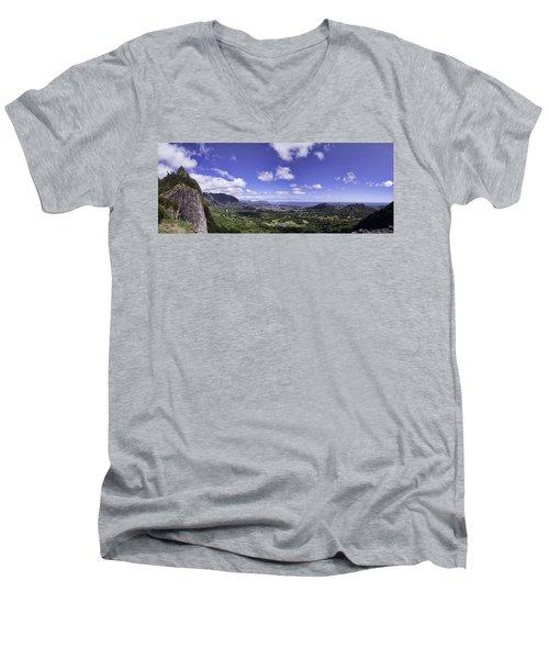 Pali Lookout Panorama Men's V-Neck T-Shirt