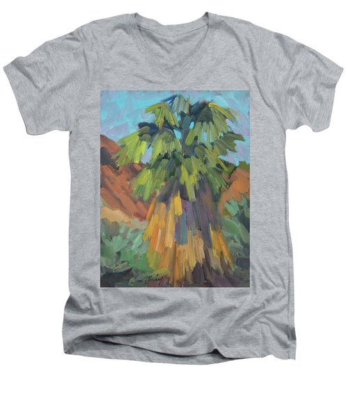 Men's V-Neck T-Shirt featuring the painting Palm At Santa Rosa Mountains Visitors Center by Diane McClary