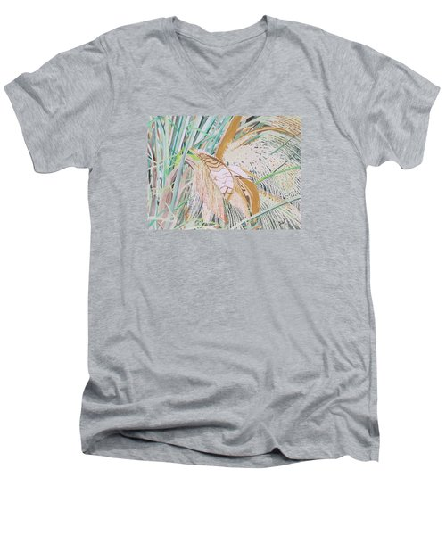 Palm Flowers Men's V-Neck T-Shirt by Hilda and Jose Garrancho