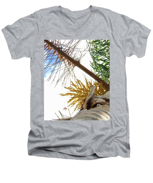 Men's V-Neck T-Shirt featuring the photograph Palm Sky View by Linda Hollis