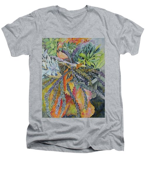 Men's V-Neck T-Shirt featuring the painting Palm Springs Cacti Garden by Joanne Smoley