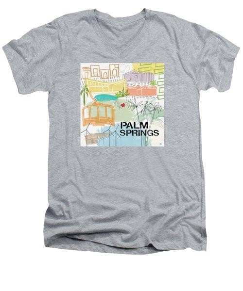 Palm Springs Cityscape- Art By Linda Woods Men's V-Neck T-Shirt