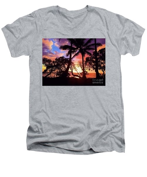Palm Tree Silhouette Men's V-Neck T-Shirt by Kristine Merc