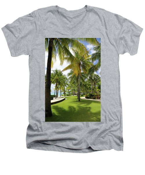 Men's V-Neck T-Shirt featuring the photograph Palm Trees 2 by Sharon Jones