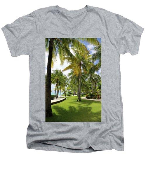 Palm Trees 2 Men's V-Neck T-Shirt by Sharon Jones
