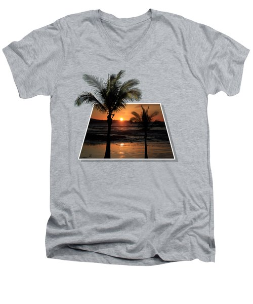 Palm Trees At Sunset Men's V-Neck T-Shirt by Shane Bechler