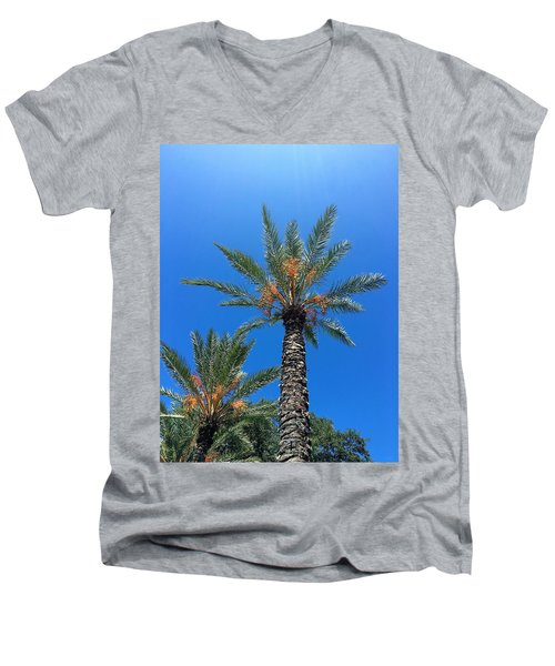 Palm Trees Men's V-Neck T-Shirt by Kay Gilley