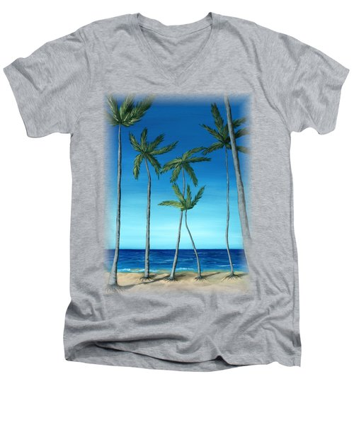 Men's V-Neck T-Shirt featuring the painting Palm Trees On Blue by Anastasiya Malakhova