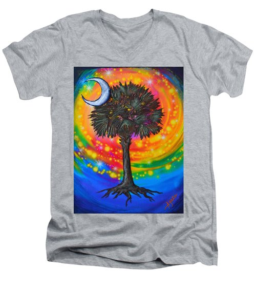 Palmetto Tree Of Life Men's V-Neck T-Shirt by Agata Lindquist