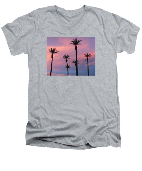Men's V-Neck T-Shirt featuring the photograph Palms At Sunset by Phyllis Kaltenbach