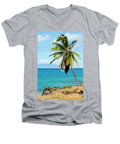 Men's V-Neck T-Shirt featuring the photograph Palms On Hawaiian Beach 12 by Micah May