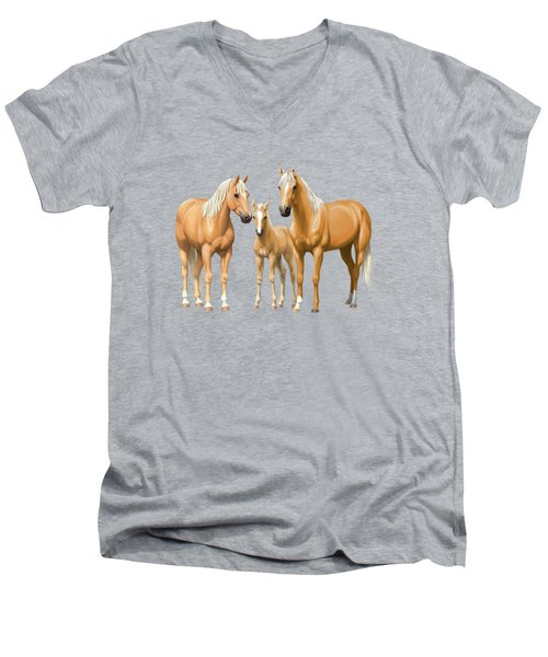 Palomino Horses In Winter Pasture Men's V-Neck T-Shirt