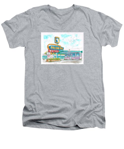 Palomino Motel In Route 66, Tucumcari, New Mexico Men's V-Neck T-Shirt